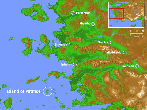 Location of Island of Patmos where John was exiled and wrote the book of Revelation. – Slide 3