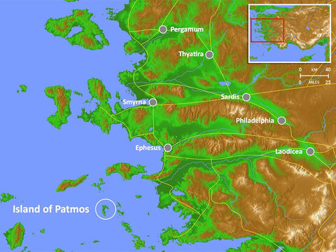 Location of the Island of Patmos where John was exiled and wrote the book of Revelation. Main Roman roads are shown. – Slide 4