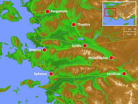Location of the seven churches with main Roman roads. – Slide 6