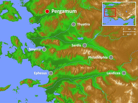 Pergamum (or Pergamon) reached the height of its greatness under Roman Imperial rule and was home to about 200,000 inhabitants. It had a shrine and spa to Asclepius (the god of healing). – Slide 9