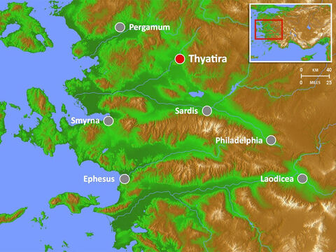 Thyatira was famous for its dyeing trade and guilds. It was a centre of the indigo/purple cloth trade and Lydia, whom Paul and Silas met in Philippi, was from this city. – Slide 10