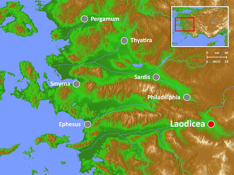 Laodicea is situated on the long spur of a hill between the narrow valleys of the small rivers Asopus and Caprus and had a large Jewish population. There is evidence of the worship of Zeus, Apollo and the emperors. – Slide 13