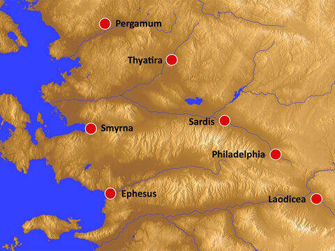 The location of the seven churches against a brown relief background. – Slide 14