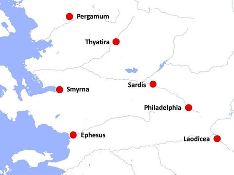 The location of the seven churches against a white background. – Slide 15