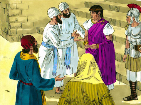 After questioning Jesus, Pilate, the Roman governor, told the Chief Priests and the crowd, 'I find no basis for a charge against this man.' <br/>He sent Jesus off to face trial by the ruler Herod Antipas who mocked Him but could not find a charge against Jesus. So Jesus was returned him to Pilate. – Slide 2