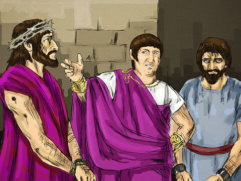 Now it was the governor's custom at the Passover festival to release a prisoner chosen by the crowd. Pilate asked them, 'Which one do you want me to release to you: Jesus Barabbas, or Jesus who is called the Messiah? <br/>The chief priests and the elders urged the crowd to ask for Barabbas and to have Jesus executed. – Slide 5