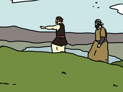 They moved north through the hill country where the strong, fighting men of Hittites, Jebusites and Amorites lived. They then went around the River Jordan and Lake Galilee where they saw the mighty Canaanites. – Slide 6