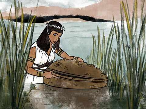 A princess, one of Pharaoh's daughters, came down to bathe in the river, and as she and her maids were walking along the riverbank, she spied the little boat among the reeds and sent one of the maids to bring it to her. – Slide 7