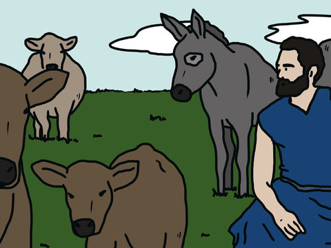 'Your oxen were ploughing, with the donkeys feeding beside them. – Slide 10