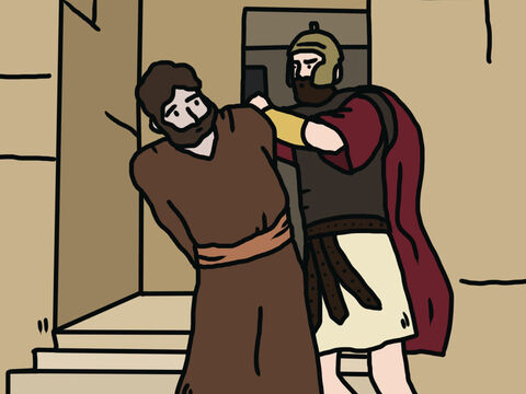 When he saw that this met with approval among the Jews, he decided to seize Peter as well. <br/>After arresting him, he put him in prison, handing him over to be guarded by four squads of four soldiers each. Herod intended to bring him out for public trial after the Passover. – Slide 2