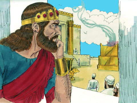 18 years after the nation split King Rehoboam died and his son Abijah was crowned King. He ruled from Jerusalem, where the Temple of God had been built and the priests of God came to run the services. – Slide 2