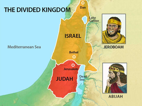 Jeroboam still ruled in the north and to stop the people in Israel returning to Judah to worship at the Temple he had built new places for them to worship. One was at Bethel and the other at Dan. – Slide 3