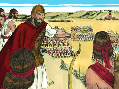 Although Abijah was a man who in the past had not fully trusted God, when faced with the battle ahead he did turn to God for help. He spoke up bravely, addressing King Jeroboam and his mighty army gathered before him. 'Listen to me Jeroboam and all Israel,' he shouted. – Slide 9