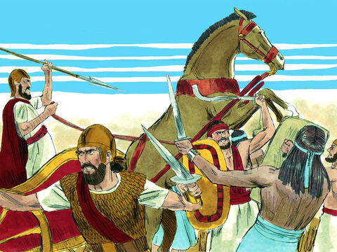 At the sound of the battle cry, God helped the army of Judah completely overpower the army of Israel. Jeroboam and his troops fled and suffered 500,000 casualties. – Slide 17