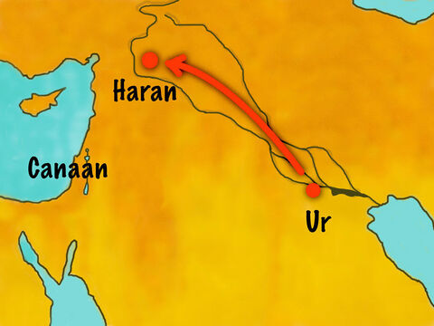 When they got to Haran they stopped to settle. During this time Abram's father Teran died. – Slide 4