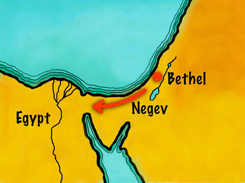 Abram and his family decided to travel south through the desert to Egypt to find food. – Slide 13