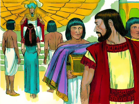 Pharaoh's officials told Pharaoh how beautiful Abram's 'sister' was and he took her into his palace. He gave Abram cattle, donkeys servants and gifts. – Slide 15