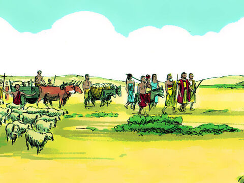 They set off on the way back to Canaan with the cattle servants and gifts Pharaoh had given them. – Slide 18