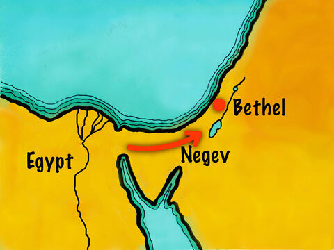 They arrived back at Bethel and settled there to live. Abram prayed to God calling on His name – Slide 19