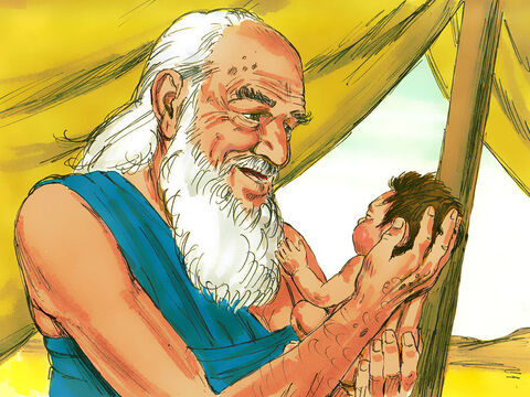 Abraham, who was now one hundred years old, gave his newborn son the name Isaac. Isaac means 'he laughs'. Abraham lovingly watched his son grow from being a baby into a young boy. – Slide 5
