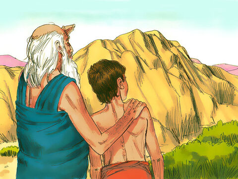 After travelling for three days, Abraham saw the mountain in the distance. He instructed the two servants to wait while he and Isaac went up the mountain to worship God. – Slide 8