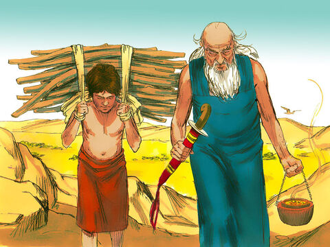 Abraham took the wood for the burnt offering and placed it on Isaac to carry while he carried the fire and the knife. – Slide 9