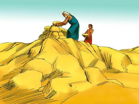 At the top, Abraham built an altar and then arranged the wood on it. – Slide 11