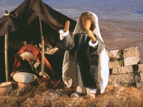 Once Lot had gone, the Lord spoke to Abram. 'Look all around you, the Lord said, 'I will give this land to you and your offspring. Go and walk all around the land for it is yours.' Abram settled in Hebron where he built an altar to worship God. – Slide 7