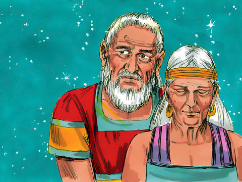 However, Abraham and his wife Sarai became older and older without having a family of their own. The son God promised did not arrive and Sarai became too old to have children. Would God keep His promise? How would Abram have descendants? – Slide 11