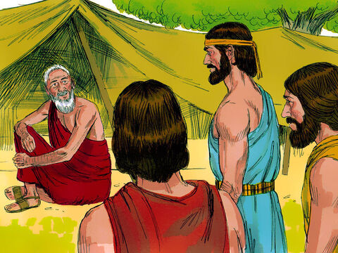 While Abraham was sitting near the entrance to his tent near the great tree at Mamre, he looked up and saw three men standing nearby. The Bible says one of these was the Lord. – Slide 1
