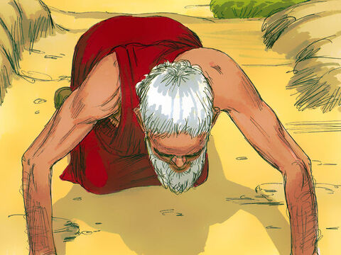 Abraham bowed down and said, 'Let me bring you water to wash your feet and then rest here while I bring you food. When you are refreshed you can then go on your way.' – Slide 2