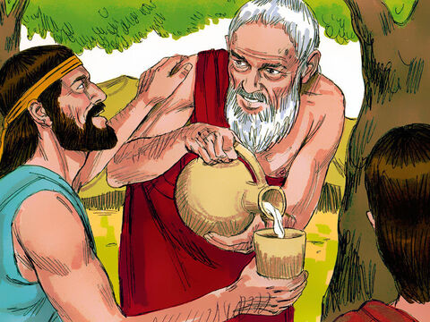 Abraham rushed to ask Sarah to bake fresh bread. He chose a choice calf and gave it to a servant to slaughter and cook the meat. Then he poured his fresh milk and curds and served it to his guests. – Slide 3