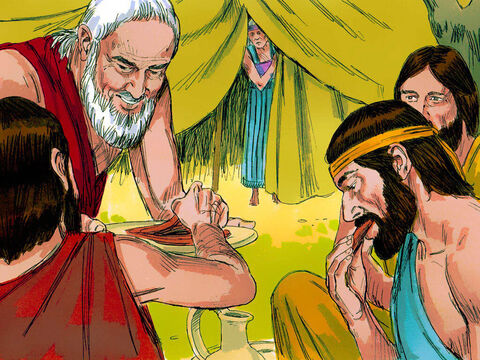 'Where is your wife Sarah?' they asked him. 'In the tent,' Abraham replied. Then one of them announced, 'I will return around this time next year and Sarah your wife will have a son.' – Slide 4