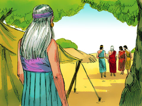 The men got up to leave and Abraham walked along with them to see them on their way. – Slide 7