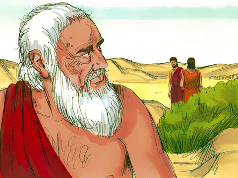 Two of the men started walking towards Sodom. Abraham was concerned as he knew his nephew Lot and his family were living in Sodom. – Slide 11