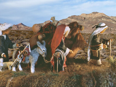 Abraham's nephew, Lot, came with them. It was a long trip and they stopped for a while in a city called Harran before setting off again. – Slide 6