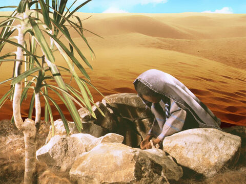 Exhausted and thirsty, she stopped by a well in the desert. – Slide 8