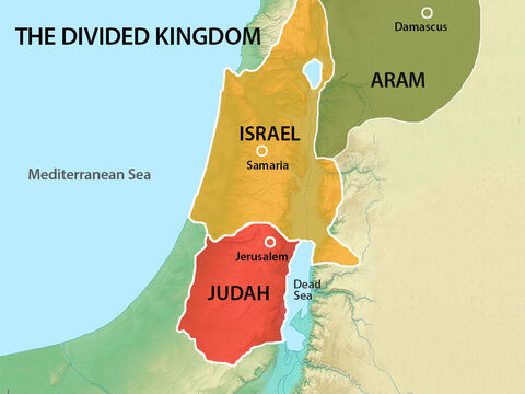 Many years before, the Jewish people had been divided into two nations. King Ahaz ruled the Jews in the south, while King Pekah ruled the Jews in the northern Kingdom of Israel. Both King Ahaz and King Pekah are described in the Bible as 'evil' rulers who disobeyed God. – Slide 2