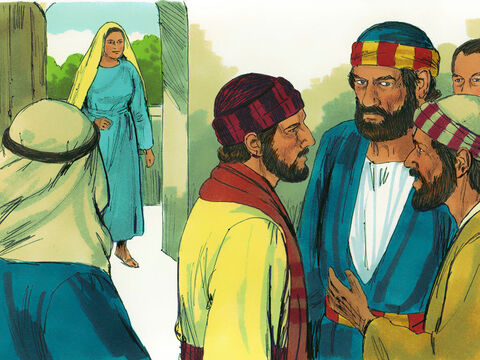 Three hours later Ananias's wife Sapphira returned home, unaware what had happened to her husband. – Slide 5
