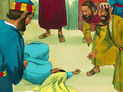 Immediately she fell to the floor and died. Her body was taken out and buried by the same men who had buried her husband. The whole church was shocked and afraid when they heard how severely God had deal with Ananias and Sapphira. – Slide 8
