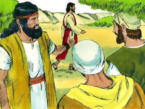 The following day, as John was standing with two of his disciples, Jesus walked by. John looked at Him intently and then declared, 'See! There is the Lamb of God!' – Slide 2