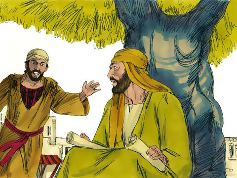 Philip went off to find a friend called Nathanael. He was sitting in the shade of a fig tree. 'We have found the Messiah!' Philip exclaimed. 'The very person Moses and the prophets told about! His name is Jesus, from Nazareth!' – Slide 9