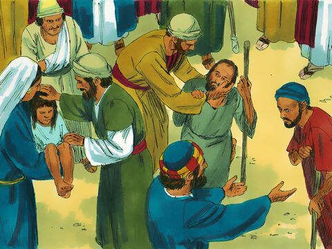 God's power was seen in many miracles the Apostles did among the people. More and more believed in Jesus. People brought the sick out into the streets and crowds gathered from the surrounding towns. All of them were healed. – Slide 1