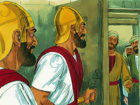 The High Priest and his associates became very jealous of the popularity of the Apostles. So they had them arrested and put in prison. – Slide 2