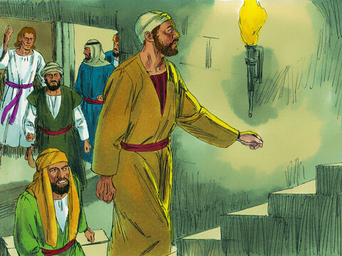 During the night an angel of the Lord opened the doors of the prison and let them out. 'Go into the Temple courts,' the angel instructed, 'and tell the people all about this new life.' – Slide 3