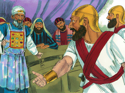 At day break the apostles obeyed and started teaching in the Temple courts. Meanwhile the High priest was being told that the prison was securely locked with the guards outside the doors but the Apostles were not inside.' – Slide 4