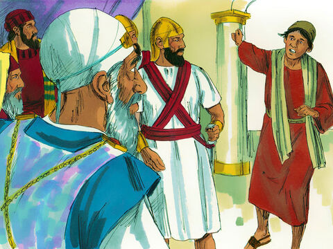 Someone arrived to report, 'The men you put in jail are teaching in the Temple courts.' The captain and his officers were dispatched to bring the Apostles before the Jewish leaders of the Sanhedrin. – Slide 5