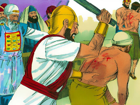 Gamaliel's speech persuaded the Jewish leaders not to kill the Apostles. Instead the Apostles were brought back in and flogged. Then they were ordered once more not to speak in the name of Jesus. – Slide 10