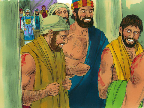The Apostles left, not feeling sorry for themselves, but happy they had been worthy to suffer for Jesus. Every day they continued to tell others that Jesus was the Saviour, the Messiah. – Slide 11