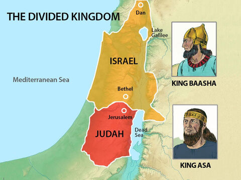 The Israelites were divided into two nations. King Asa ruled the two Jewish tribes in the southern kingdom of Judah while King Baasha ruled the 10 Jewish tribes in the northern kingdom of Israel. – Slide 2
